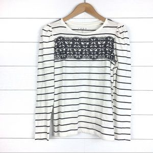 LOFT Tops - NWT LOFT Striped Lace Trim Puff Sleeve Long Sleeve